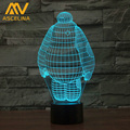 3D Big Hero 6 Baymax High Technology Originality LED Night Light 3D Wood Mood Lamp