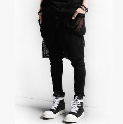 27-42!! New arrival fashion male design gauze large pocket harem pants boot cut jeans plus size available