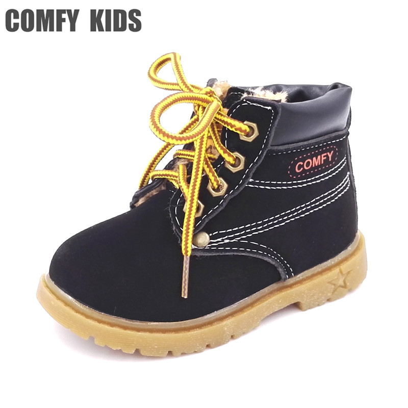 b9c0e74f910 Comfy kids winter Fashion Child Leather Snow Boots For Girls Boys Warm  Martin Boots Shoes Casual Plush Child Baby Toddler Shoe-in Boots from  Mother   Kids ...