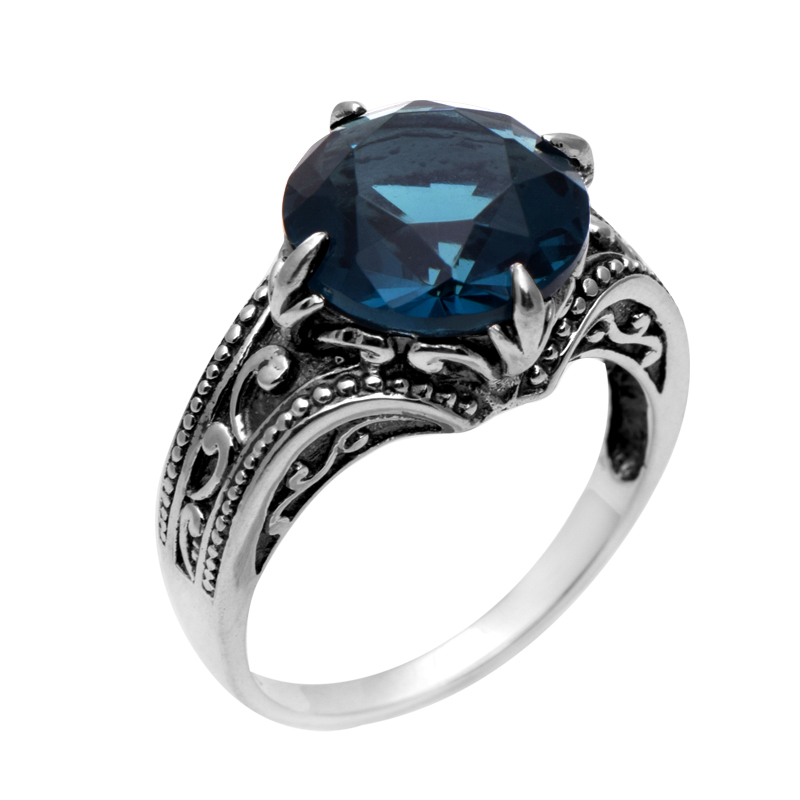 szjinao 925 sterling silver ring antique ring border flowers female wedding rings kate princess blue stone ring wholesale - Princess Kate Wedding Ring