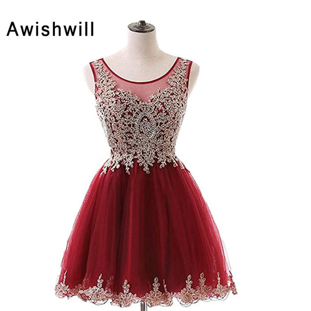 f3150deb90 Burgundy Short Prom Dresses Real Photo Vestido A-line Sleeveless Gold Lace  Applique Tulle Party