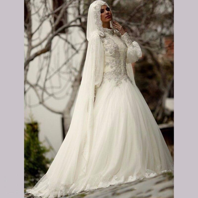 Vestido De Noiva 2017 Muslim Wedding Dress Long Sleeve Real Photo Appliques BeadedTurkish Islamic Hijab Ball Gown Bridal Gowns