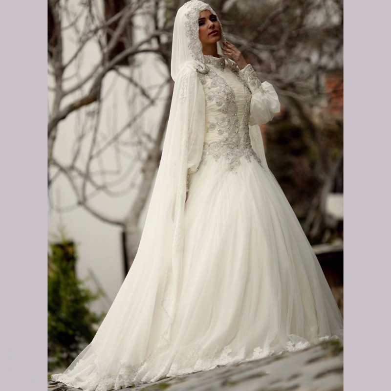 Vestido De Noiva 2017 Muslim Wedding Dress Long Sleeve Real Photo Appliques BeadedTurkish Islamic font b
