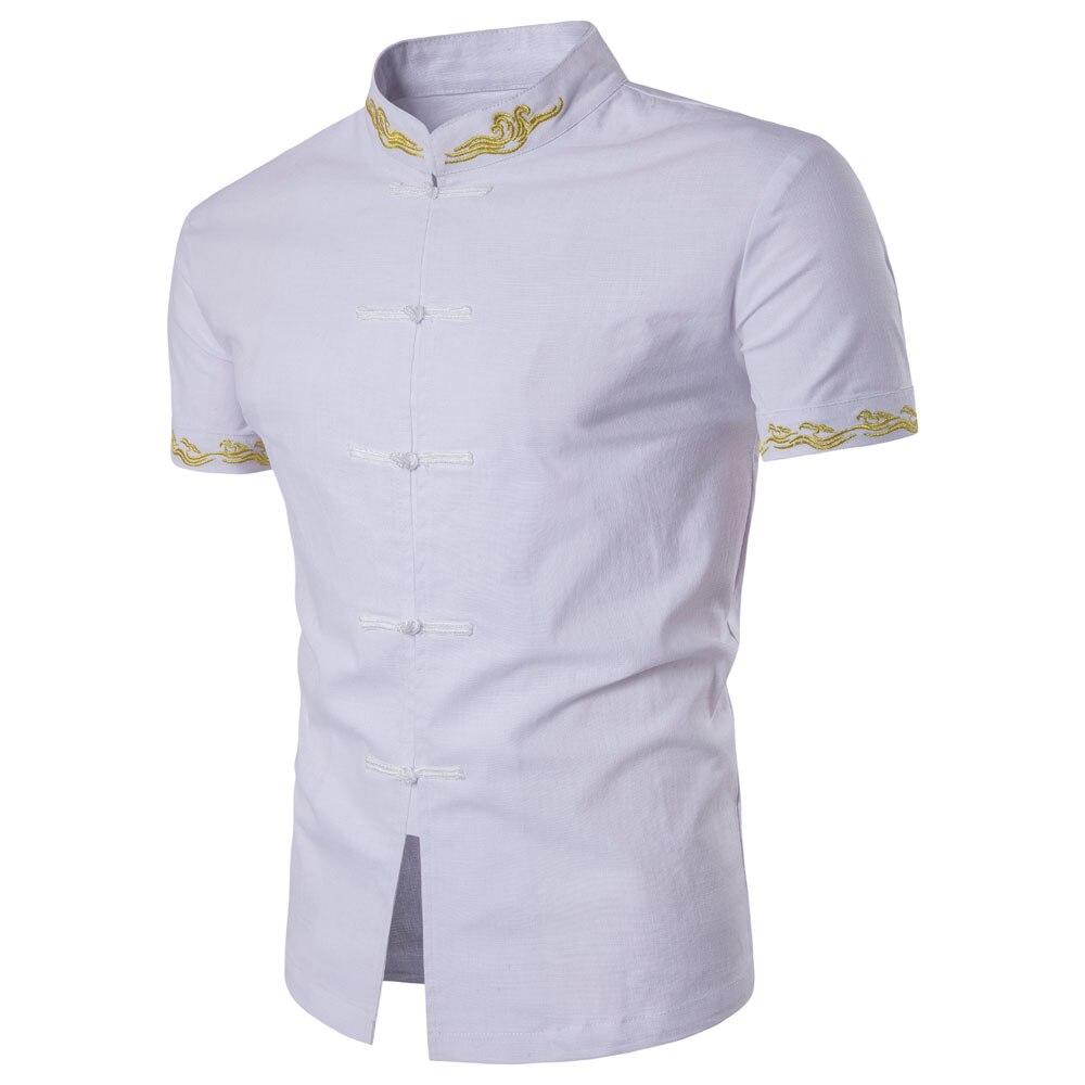 2017 International Collar Shirt Mens Traditional Solid Color