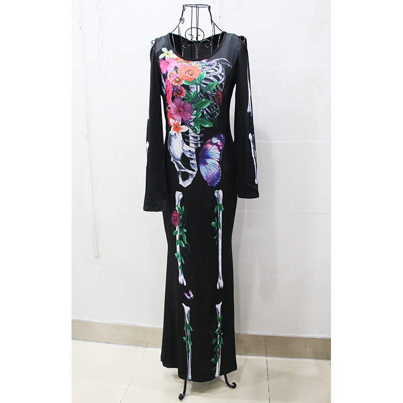 new Sexy Ghost bride long dress Halloween black Skeleton Skull Vampire Cosplay Costume Masquerade Adult Club wear Party Costumes