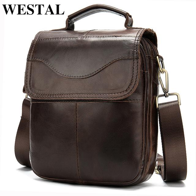 WESTAL Men's genuine leather/messenger bag Men's shoulder bag for men natural leather man flap small crossbody bags handbag 8558