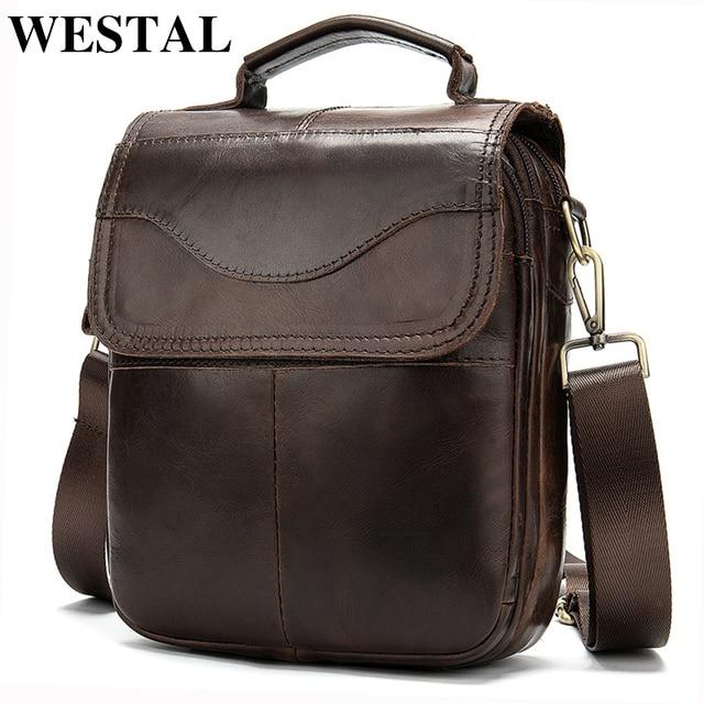 WESTAL genuínas dos homens de couro/saco do mensageiro saco de ombro dos homens para homens homem de couro natural flap crossbody pequeno sacos bolsa 8558