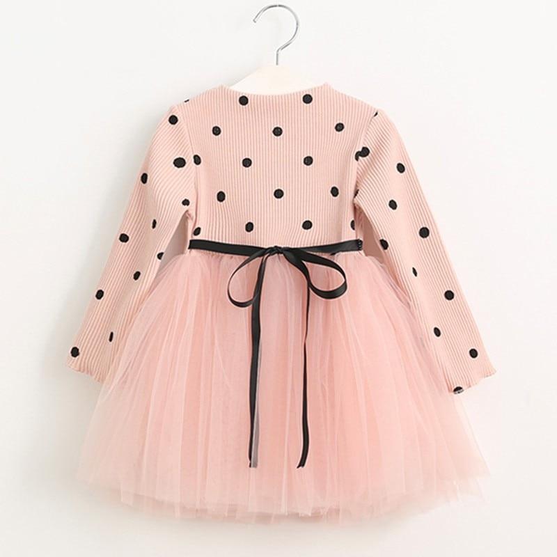 wear, childrens princess skirt, Korean version, girls long sleeved knitted netting dress, spot factory direct sale.