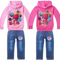2017 Newest Children Clothing Sets Kids Girls Trolls Sweatshirts Topwear pants suit girls Zipper Cardigan Hoodies and Jeans set
