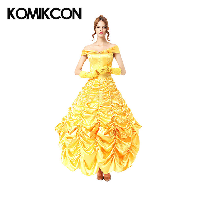 Beauty and the Beast Belle Dress Cosplay Halloween Costume Woman Evening Gown Yellow Princess Dresses Christmas Party Suit