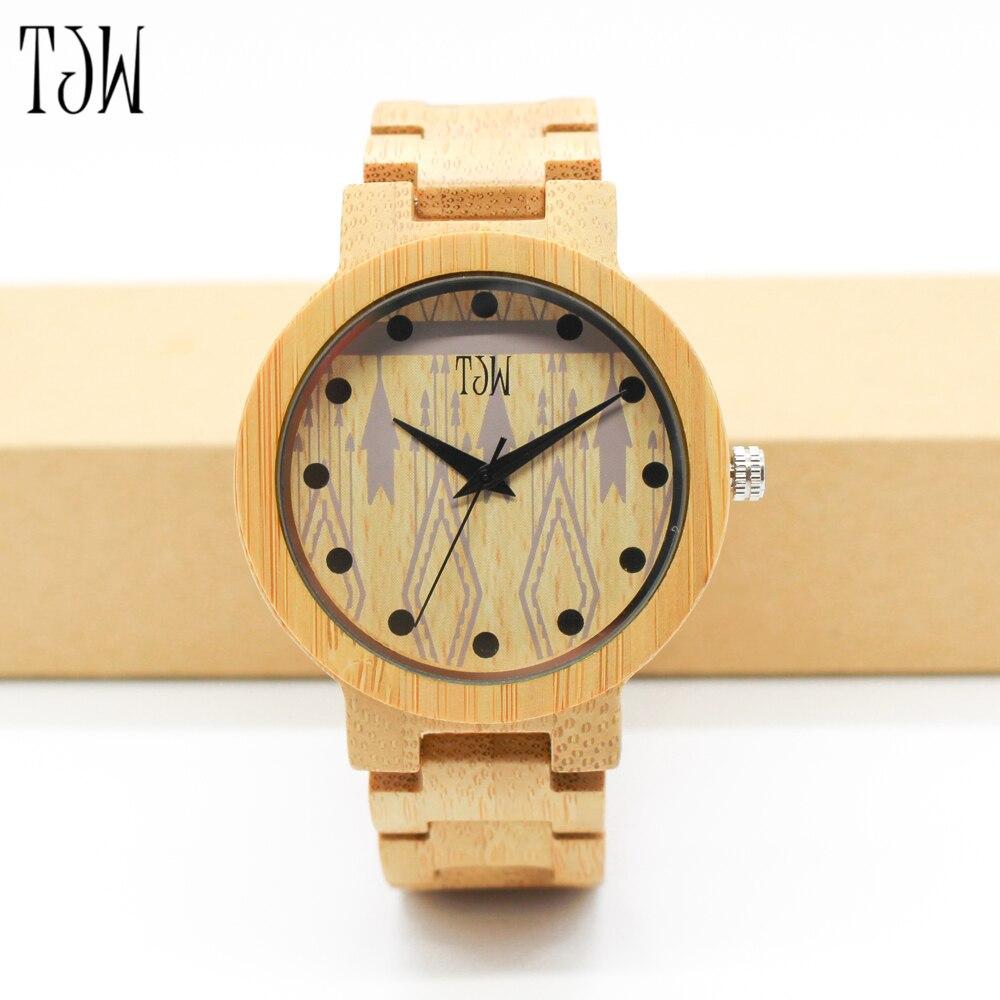 все цены на TJW New brand watch bamboo wood watch men's waterproof men's and women's wooden watch онлайн
