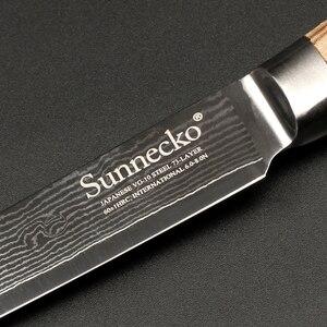 Image 5 - SUNNECKO 5 Utiltiy nóż 73 warstwy Damascus Steel japoński VG10 ostry nóż uniwersalne noże kuchenne oryginalny drewniany uchwyt