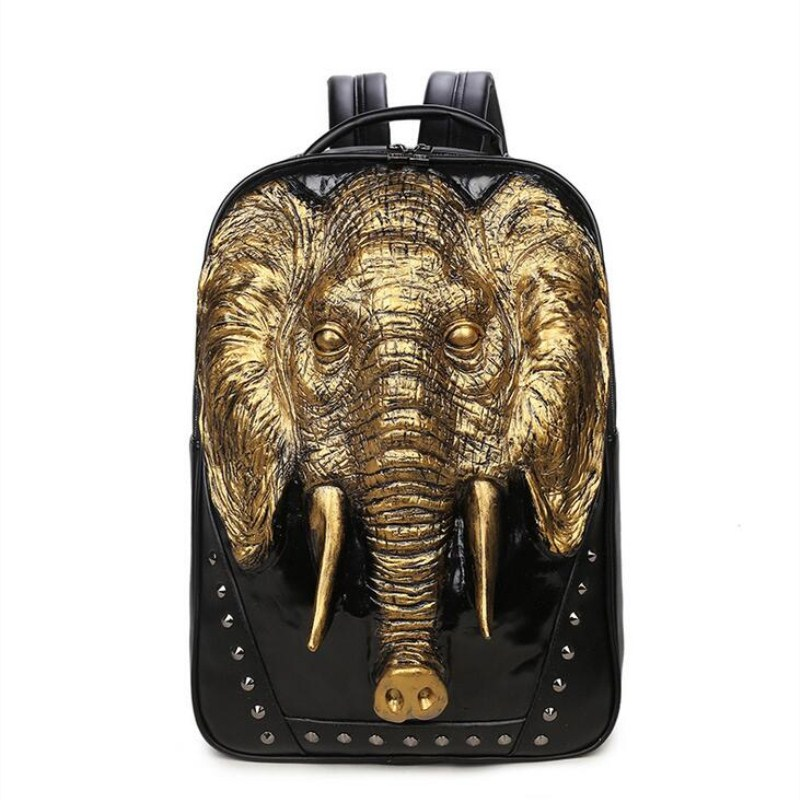 Cool Men Travel Backpack Men Elephant Animal Bags 15.6 Inch Laptop Computer Bag Fashion Black Gold Silver Rivet Leather Bags 3d lion leather backpacks fashion men school travel computer backpack bags personality silver gold rivet animal bags halloween