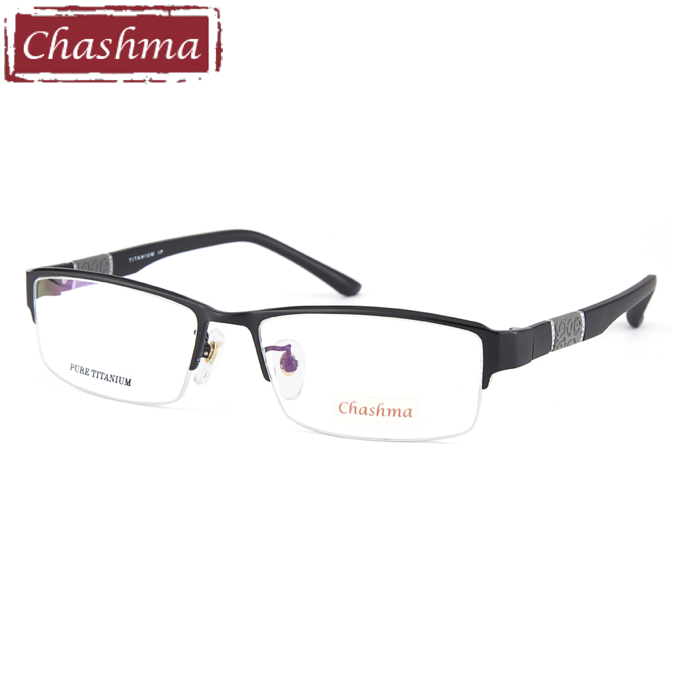 Prescription Glasses Spectacle Men Eyeglass Titanium Frame Rubber Flexible Temple Ultra Light Eyeglasses Optical Frames Male(China)