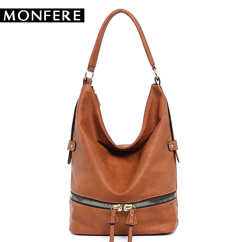 MONFERE large casual HOBO fashion faux leather zipper shoulder bags female leisure luxury handbags women bags designer neutral