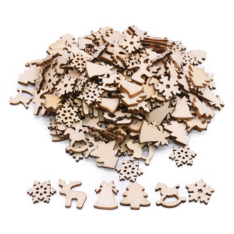 100Pcs Christmas Wooden Pendants Ornaments DIY Wood Crafts Xmas Tree Ornaments Snowflake Christmas Party Decorations For Home