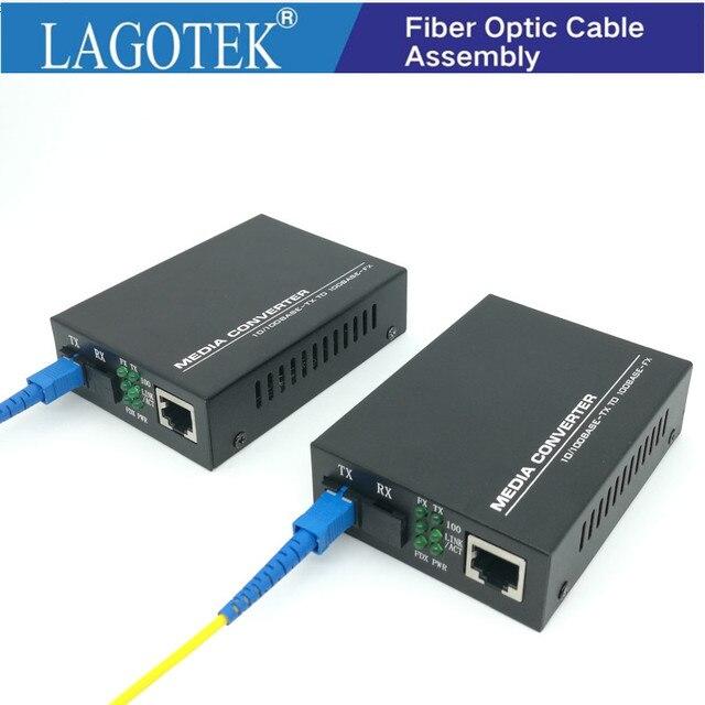 Profesjonalny jeden para optyczny konwerter światłowodowy Transceiver pojedynczy konwerter światłowodowy 25km SC 10/100M jednomodowy światłowód