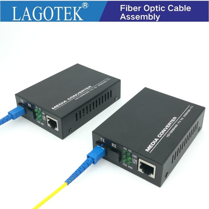 Professional One Pair Optical Fiber Media Converter Fiber Transceiver Single Fiber Converter 25km SC 10/100M Singlemode Fiber