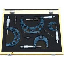 0-25 мм, 25-50 мм, 50-75 мм, 75-100 мм наружный набор микрометров трещотки стоп Тип 4 шт./компл. 0-100 мм Толщиномер измерительный инструмент