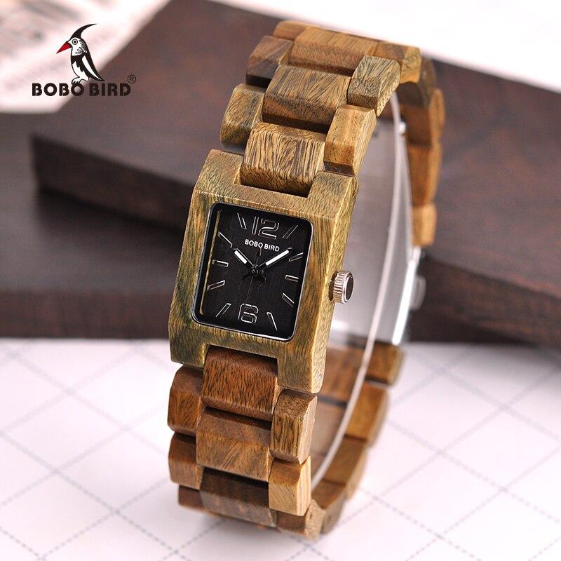 BOBO PÁSSARO De Madeira Relógios das Mulheres Top Fashion Square Dial montre femme Coleção de Relógios para Senhoras S02