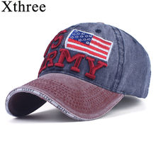 497e90f3650 Xthree 100% Washed Cotton Baseball Caps Men Summer Cap Embroidery Casquette  Dad Hat for Women Gorras Planas snapback Hat Army