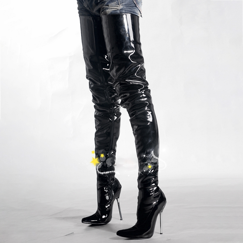 Thigh Long Boots Women Shoes 12cm High Heels Boots Over Knee Metal Stiletto Fashion Fenty Beauty