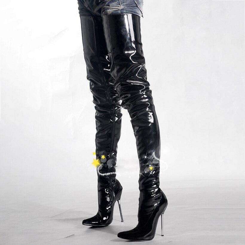 Cuissardes bottes femmes chaussures 12 cm talons hauts bottes sur genou en métal Stiletto mode Fenty beauté chaussures à lacets dames grande taille 46
