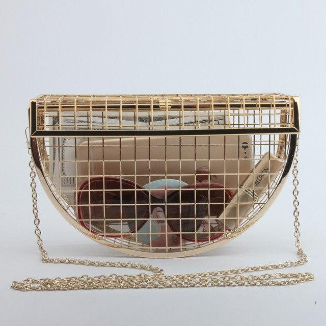Hollow Metal Cages Women Party Clutch Evening Shoulder Bag Ladies Handbag Messenger Bags Purse Unique Fashion Design