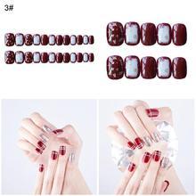 24 Pcs/Set Women Full Nail Tips Ladies Fake Fingernails