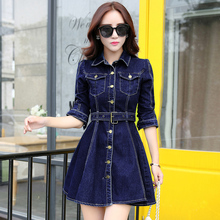 2018 Autumn Ladies high quality Slim Denim jacket lapel Long Coats Women Fashion Single-breasted with Sashes Royal blue Outfit цена 2017
