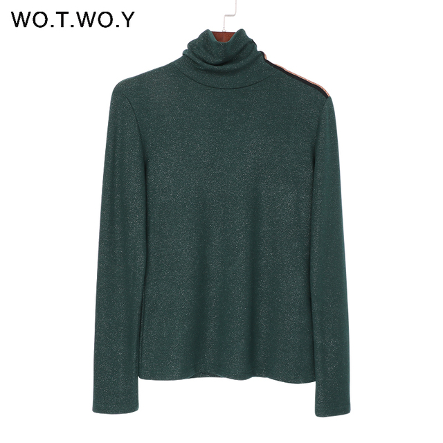 WOTWOY 2019 Spring New Turtleneck T Shirt Women Basic Knitted Lurex Tops Long Sleeve Cotton Women Casual T-shirt Solid Color T-Shirts