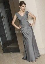 Neue Nach Maß Grau Perlen Applioques Mutter der Braut Kleider Abendkleid Formale Kleider Mutter Kleider