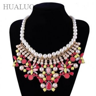 2016 Hot Sales Fashion Shourouk Luxury Vintage Chunky Women Pearl Chain Rhinestone Flower Statement  Necklaces&Pendants  88N1736