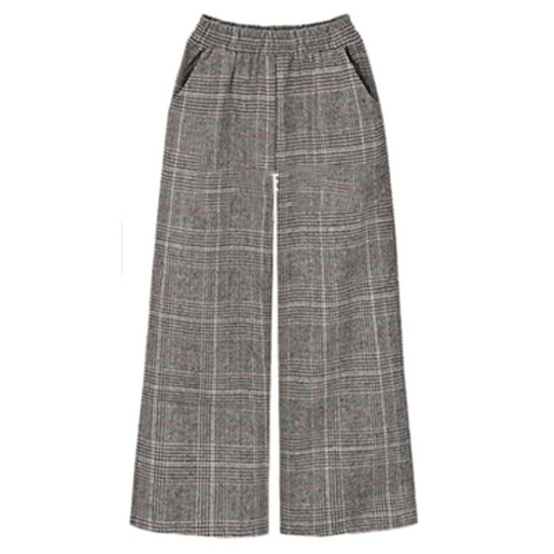 2018 Winter European Style Winter Brand Trousers Plus Size XL- 4XL Wool&Blend Thick Ladies   Capris   Street Plaid Wide Leg   Pants