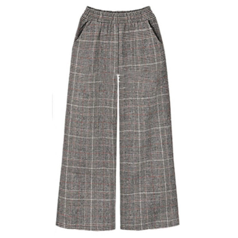 2019 Winter European Style Winter Brand Trousers Plus Size XL- 4XL Wool&Blend Thick Ladies Capris Street Plaid   Wide     Leg     Pants