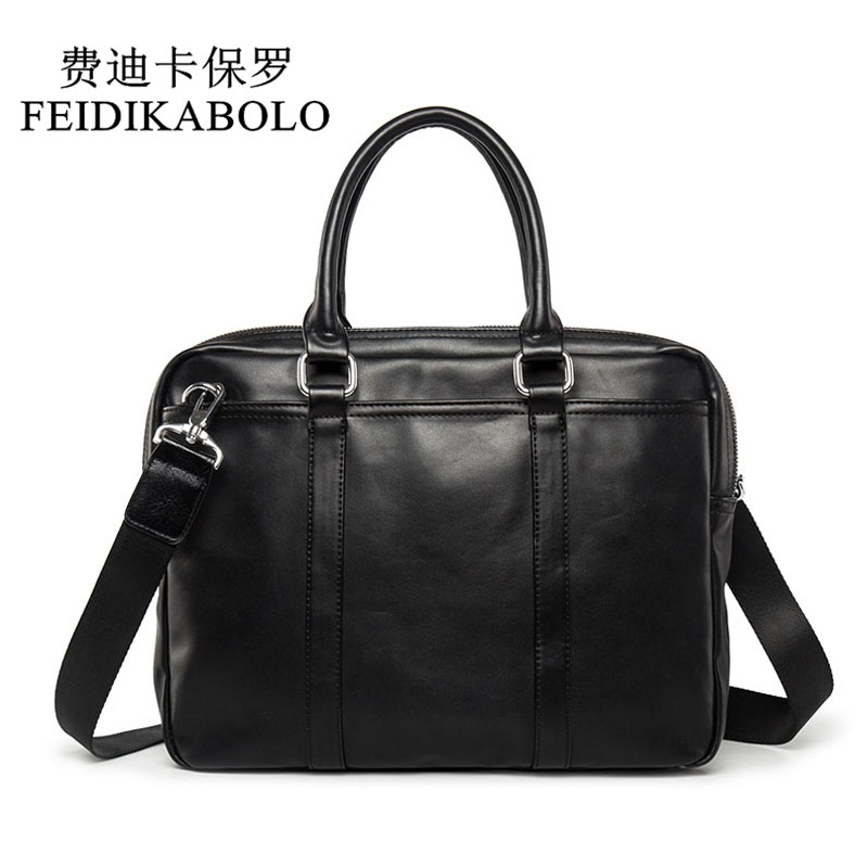 FEIDIKABOLO Famous Brand Business Men Briefcase Bag Man Shoulder Bag Luxury Leather Laptop Bag Simple Men's Handbag bolsa maleta