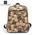 Горячие продажа 2016 Корейский медведи печати дизайнер женщин холст рюкзаки Англия известная марка девушка подростков школы туристические рюкзаки