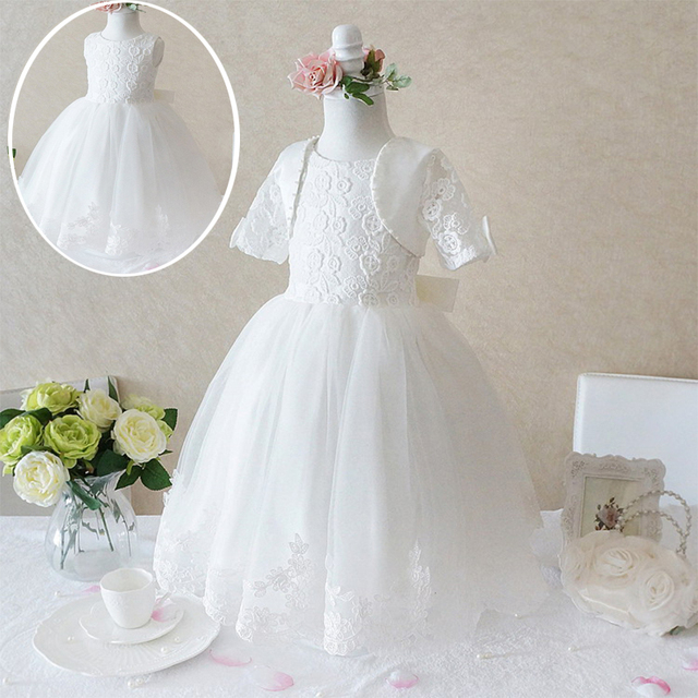 2018 Luxury Princess White Dresses For Girls Ball Gowns Wedding Frocks Baptism Birthday Party Girl