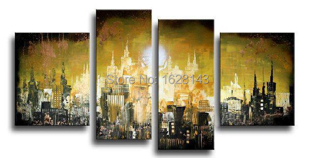 the abstract new york city oil painting hand painted 4 piece canvas ...