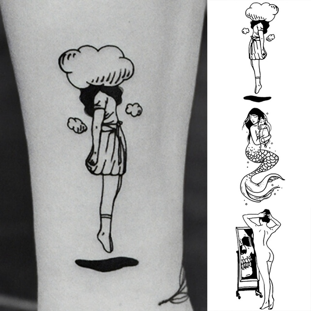 2 unids/set flor serpiente falso tatuaje lindo conejo Tatuajes Tatuagem baile rey Taty Arte del cuerpo impermeable tatuaje temporal pegatinas