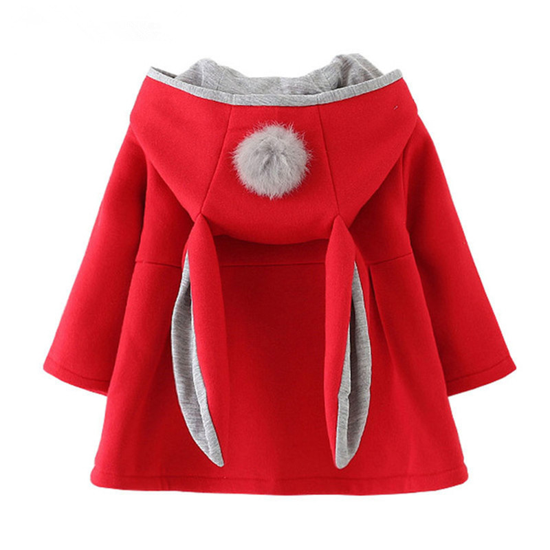 2018 Spring And Autumn Baby Outwear Infants Girls Cute Rabbit Hooded Jackets Kids Coats With Ball Holiday Party Clothes Costumes