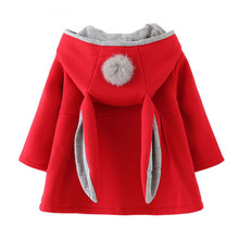 2018 spring and autumn Baby Outwear Infants Girls Cute Rabbit Hooded Ja