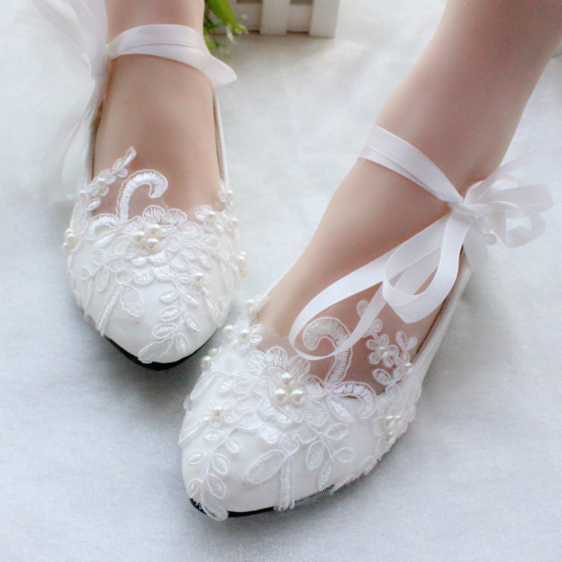 цена на Woman Brand White Lace Pearls Wedding Shoes Ribbons Women Party Dress High Heels Pump Shoes For Ladies Size EU34-40 Bridal Shoes
