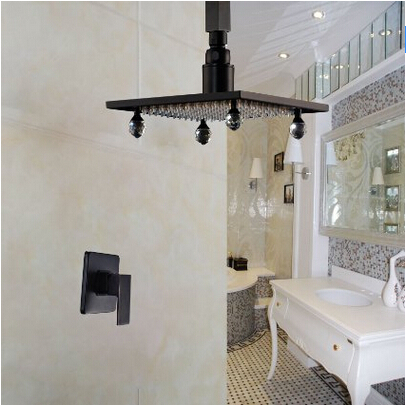 Ceiling Mount Rain Shower Set 8 Inch Top Shower Head with Single Lever Mixer Oil Rubbed Bronze