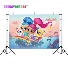 SHENGYONGBAO Vinyl Custom Photography Backdrops Prop Shimmer and shine Cartoon Theme Background SS-00028