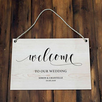 Wooden Wedding Party Sign, Personalized Custom Bride and Groom Welcome Wedding Decorations, Wooden Cutting Wedding Signs