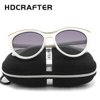 HDCRAFTER Cat Eye Sunglasses Women Brand Designer 2017 Polarized Aluminum Sunglasses White Frame Gradient Driving Sun
