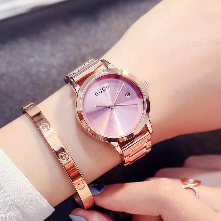 Fashion Women Rose Gold Date Quartz Watch High Quality Lady Bracelet Dress Watch Luxury Female Stainless Steel Waterproof Clock