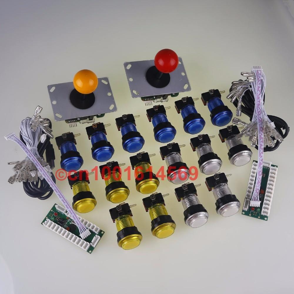 Zero Delay PC USB Encoders & 16 X Arcade LED illuminate Buttons & 2 X Arcade Joysticks For Family Classic Video Game Console DIY