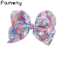 7 Kids Large Sequin Hair Bows Rainbow Cartoon Horse Print Clip For Children Girls Handmade Hairbow Accessories